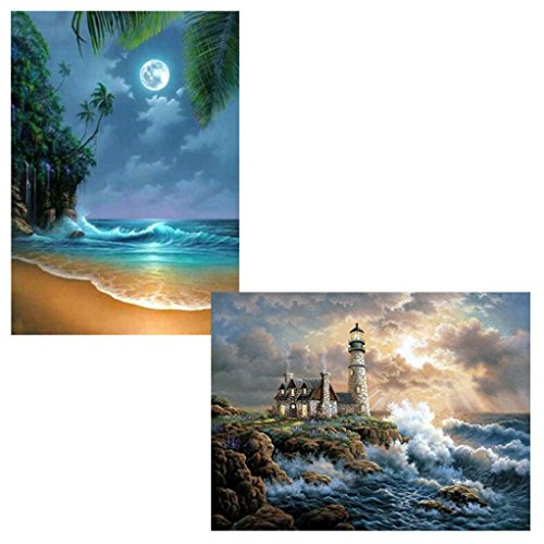 Price comparison product image JDgoods 2 Packs 5D Diamond Painting Kits For Adults DIY Diamond Painting Full Drill Rhinestone Full Diamond Embroidery Pictures Arts Craft For Home Wall, Seaboard