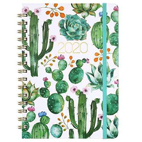 "Planner 2020 - Weekly & Monthly 2020 Planner Jan - Dec, 8.5"" x 6.4"", Flexible Hardcover, Strong Twin - Wire Binding, Thick Paper, 12 Monthly Tabs, Inner Pocket, Elastic Closure, Inspirational Quotes"