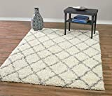 Diagona Designs Contemporary Beni Ourain Inspired Trellis Design Modern Shaggy Area Rug, 6'7'' W X 9'3'' L, Ivory/Grey