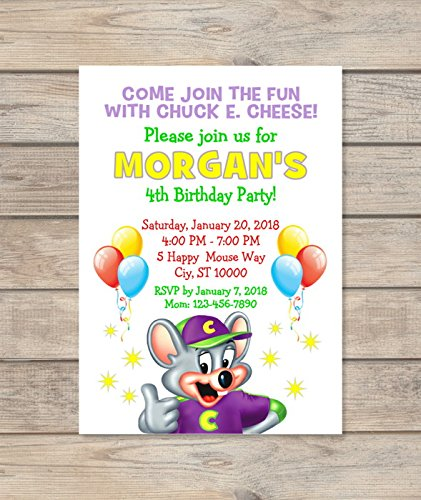 Amazon Custom Chuck E Cheese Birthday Party Invitations
