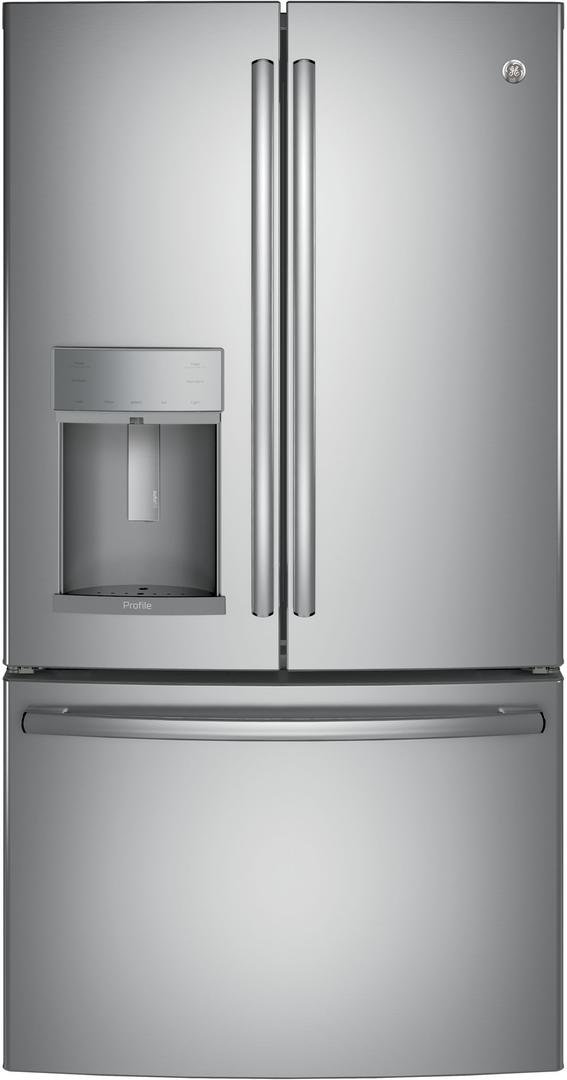 PYE22KSKSS 36 Energy Star Qualified CounterDepth French-door Refrigerator with 22.2 Cu. Ft. Capacity Full-width temperature-controlled drawer in Stainless steel