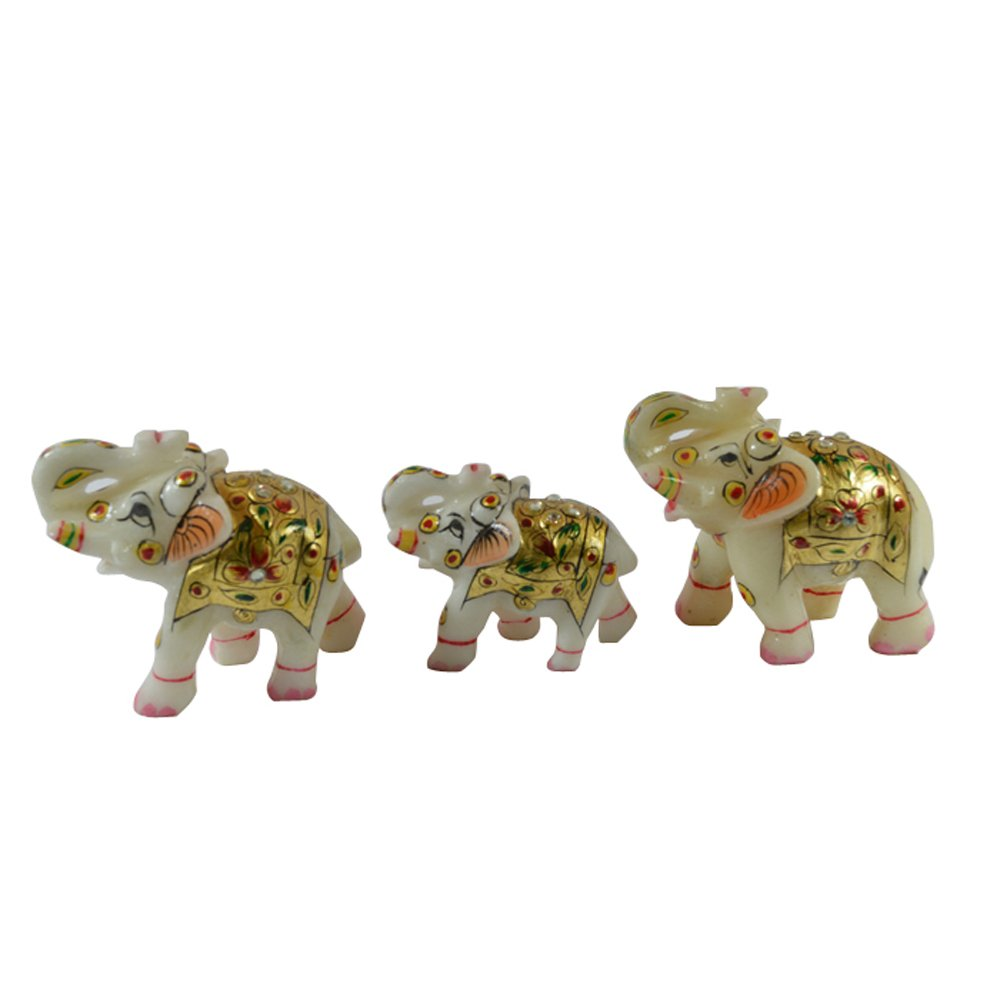 Royal Hand Painted Marble Elephant Family - Set of 3