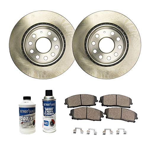 - Detroit Axle - Pair (2) 280mm Front Disc Brake Rotors w/Ceramic Pads w/Hardware & Brake Cleaner & Fluid for 2011 2012 2013 VW Volkswagen Jetta