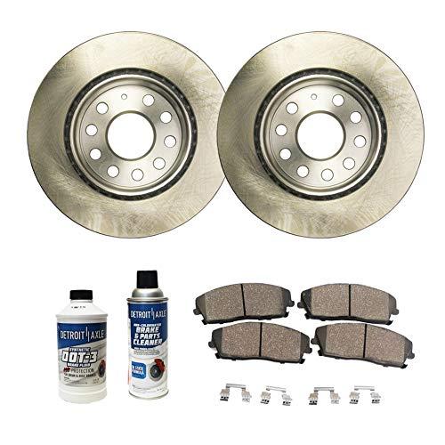 Detroit Axle - Pair (2) 280mm Front Disc Brake Rotors w/Ceramic Pads w/Hardware & Brake Cleaner & Fluid for 2011 2012 2013 VW Volkswagen Jetta