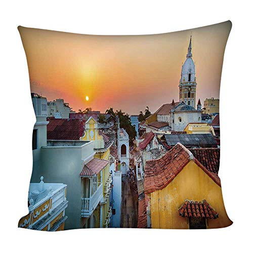 (YOLIYANA Sunset Square Throw Pillow Cover,View Over The Rooftops of The Old City Cartagena Cathedral Colombian Coast Picture Decorative for Home Outdoor Couch Sofa,15.7