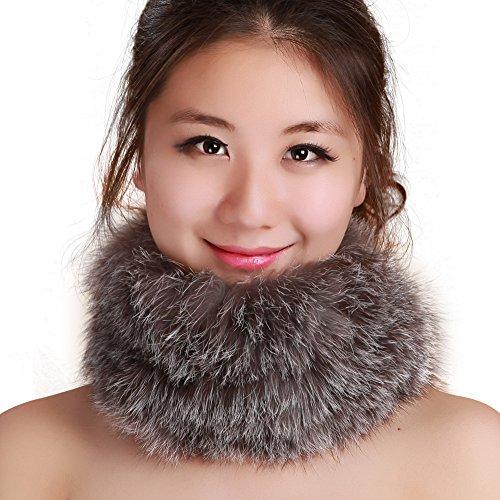 FURTALK Winter Fox Fur Hat Headband - Women's Genuine Wrap Cap Neckwarmer Original (One size, Grey2) ()