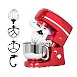 Litchi 5.3 Quart Stand Mixer, 6 Speed Tilt-Head Stand Mixer with Blender, Sausage Stuffer, Pasta Dies, Dough Hook, Mixing Blade, Flat Beater, Whisk and Pouring Shield, Red