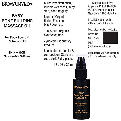 BIOAYURVEDA Baby Bone Building Massage Oil |Organic Nourishing Baby Oil with Coconut, Sunflower, Olive Oil for Infants|Safe for Muscle Strength, Immunity, Low Circulation, Weak Bones (1 Oz)