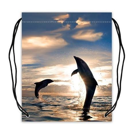 Respetuoso con el medio ambiente delfines patrón tela de poliéster ...