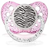 Personalized Pacifiers Zebra Print Glitter Pink Baby Pacifier Paci Binky