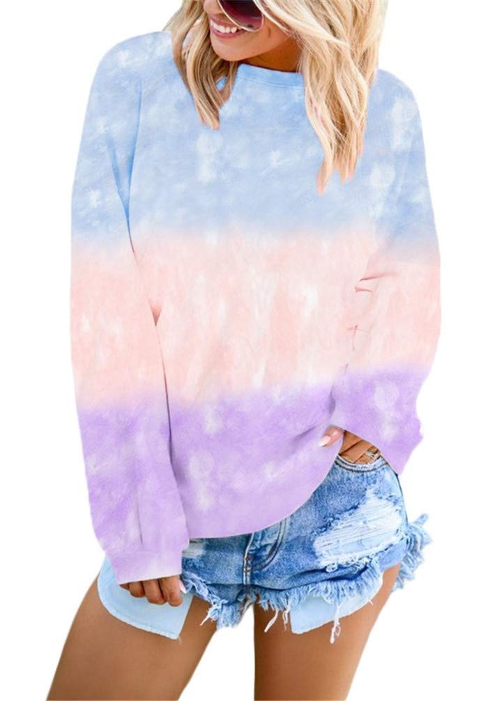 Nicetage Pullover Sweatshirts for Women Tie Dye Long Sleeve Crewneck Shirts Tops HS408-252310 Light Blue-M by Nicetage