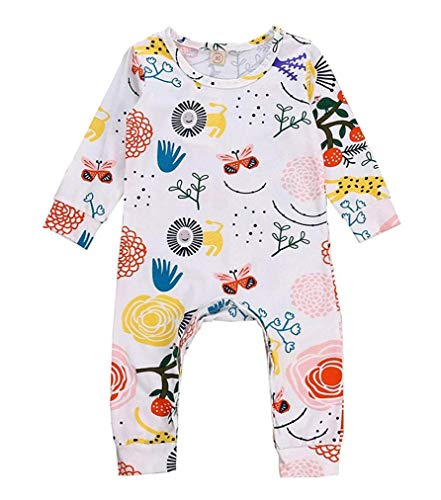 Newborn Baby Boys Girls Cotton Blend Floral Animal Print Romper Jumpsuit Outfits Clothes (6M, White) for $<!--$4.29-->