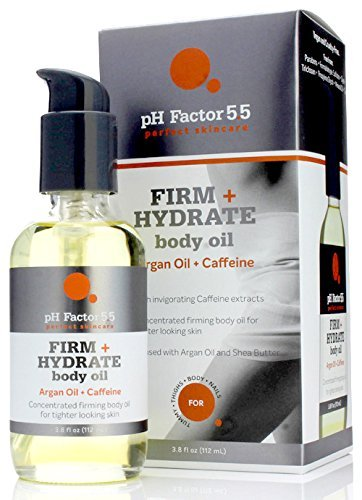 pH Factor 5.5 Argan Oil Firm + Hydrating Body Oil for dry skin, cellulite, uneven skin tone, dark spots – With Caffeine, Cucumber, and Shea Butter. Large 3.8oz Bottle