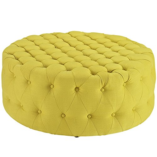 Modway Amour Fabric Upholstered Button-Tufted Round Ottoman in - Ottoman Button Tuft