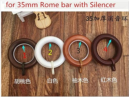 Ochoos Wood Large Pulley Ring with Clip Inner/Outside Diameter 4/6mm for Curtain Pole Hanging Ring/Rome Wood Rod Accessories - (Color: 3 red Brown) by Ochoos (Image #1)