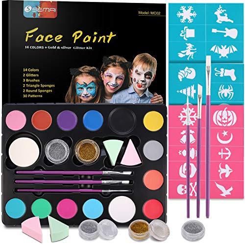 Halloween Make Up Faces (Face Paint Kits for Kids, Semai 14 Colors Professional Face Painting Kits Washable Non-Toxic Face & Body Paint with Stencils, Great for Theme Birthday Party and Halloween Makeup, Face Painting)