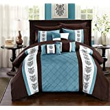 Chic Home Clayton 10 Piece Comforter Set Pintuck Pieced Block Embroidery Bed in a Bag with Sheet Set, King Blue Brown