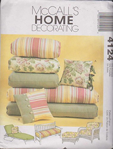McCall's 4124 - Chair and Ottoman Cushions, Bench Pad, Chaise Cushions and Pillows on popular sizes