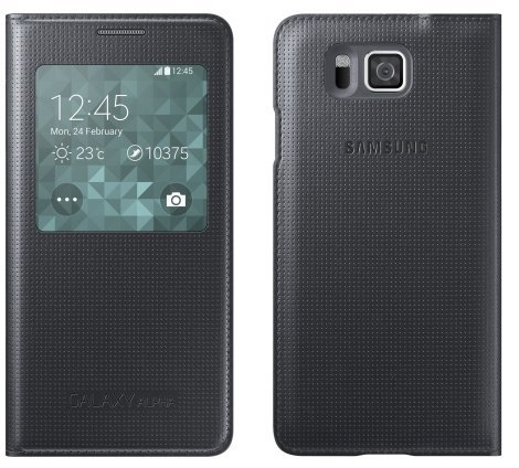 new concept 3e09d aafcd Samsung S-View Flip Cover Case for Samsung Galaxy Alpha - Retail Packaging  (Black)