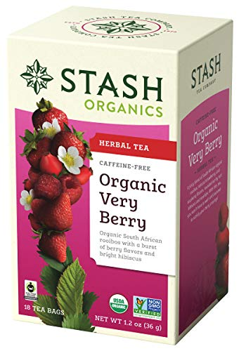 Stash Tea Organic Very Berry Herbal Tea 18 Count Tea Bags in Foil (Pack of 6) (Packaging May Vary) Individual Herbal Tea Bags for Use in Teapots Mugs or Cups, Brew Hot Tea or Iced Tea ()
