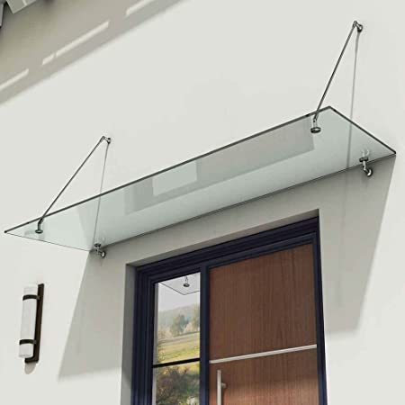 Durovin Bathrooms Luxury Glass Over Door Canopy | Stainless Steel Support  Brackets U0026 13mm Thick Clear