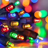 Multi Color 100 Light LED Christmas Mini Light Set, Outdoor Lighting Party Patio String Lights - 34 Feet