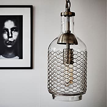 CASAMOTION Industrial Edison Vintage Hand Blown Glass Pendant Light, 1 hanging light with Brass Wire, 6 inch