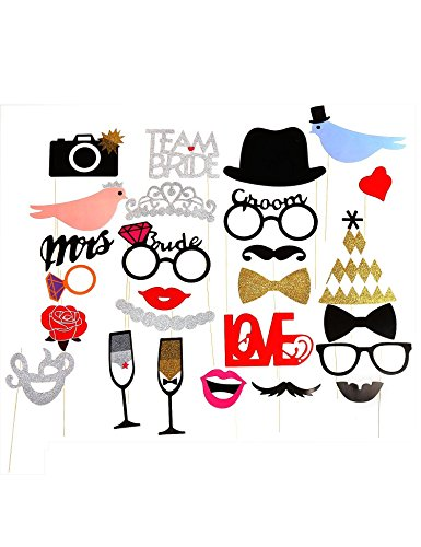Photo Booth Props, Colorful Props Funny DIY Kit with Masks Mustache Glasses Lips On Stick Wedding Christmas Birthday Party Favor ( 31 Pcs - On Glasses Stick A