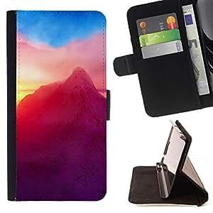 Momo Phone Case / Flip Funda de Cuero Case Cover - Neón Montaña;;;;;;;; - Apple Iphone 5 / 5S