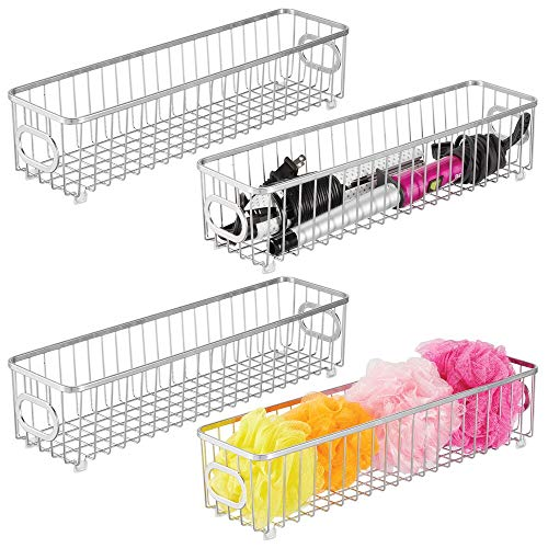(mDesign Metal Bathroom Storage Organizer Basket Bin - Farmhouse Grid Design - Organization for Cabinets, Shelves, Closets, Vanity Countertops, Bedrooms, Under Sink - X Long Container, 4 Pack - Chrome)