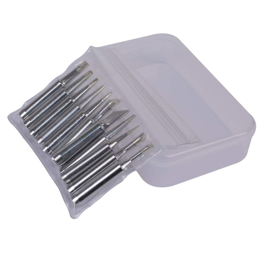 Fine tools 11 Pieces Soldering Iron Tips Kit 900M-T with Free Box for Hakko Soldering Station Tool 900M 936 937 907