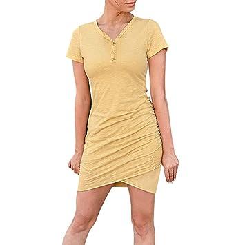 Vestido de Manga Corta SUNNSEAN Faldas con Cuello en V y ...