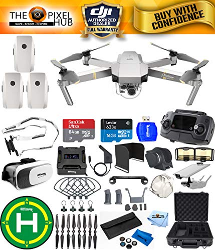 DJI Mavic Pro Platinum Edition Pro Accessory Bundle with Aluminum Case, 7 Piece Filter Kit, Vest Strap, Landing Pad Plus Much More (3 Batteries Total)
