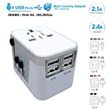 Power Plug Adapter - International Travel - w/4 USB Ports work for 150+ Countries - 220 Volt Adapter - Travel Adapter Type C Type A Type G Type I for UK Japan China EU Europe European By Moonli