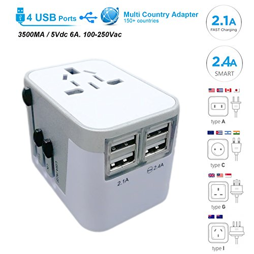Power Plug Adapter - International Travel - w/4 USB Ports work for 150+ Countries - 220 Volt Adapter - Travel Adapter Type C Type A Type G Type I for UK Japan China EU Europe European By Moonli by Moonli
