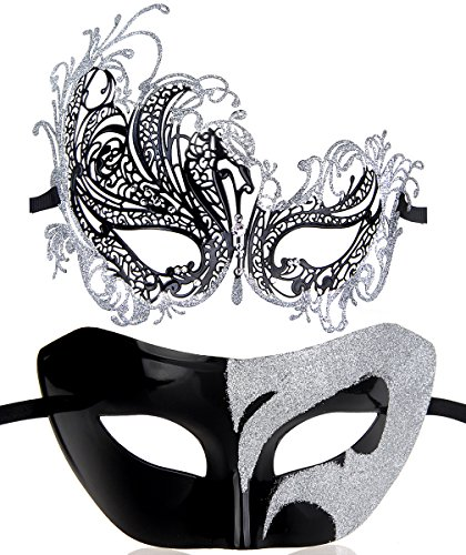 One Pair Couple's Gorgeous Venetian Masquerade Masks Party Costumes Accessory (Silver&Black)