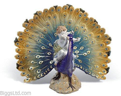 Lladro Porcelain Sculpture Cherub on a Peacock
