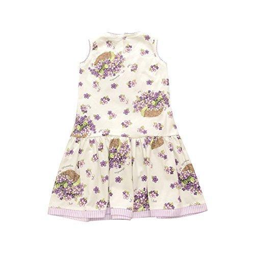 violette sans Weiß MONNALISA manche Robe fleurs à XBnxH0aq