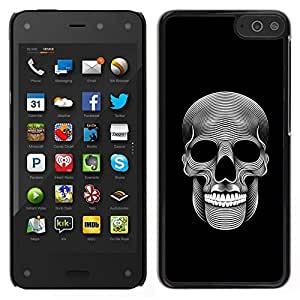 // PHONE CASE GIFT // Duro Estuche protector PC Cáscara Plástico Carcasa Funda Hard Protective Case for Amazon Fire Phone / Music Skull Death Metal Dark Art Black /