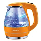 Ovente KG83O 1.5 Liter BPA Free Glass Cordless Electric Kettle, Orange