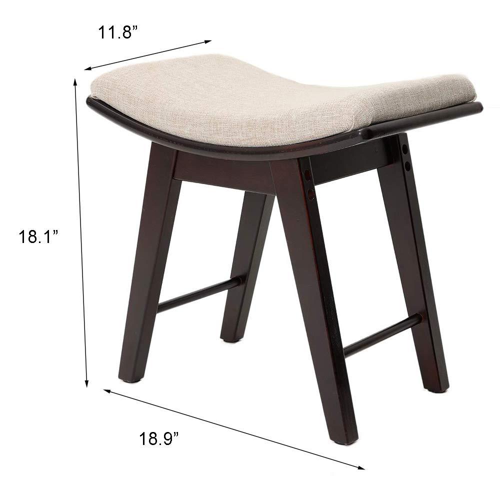 Klaviersitz mit Gummibeinen aus Holz braun Iwell Schminkhocker Hocker Schminkbank gepolsterter Stuhl
