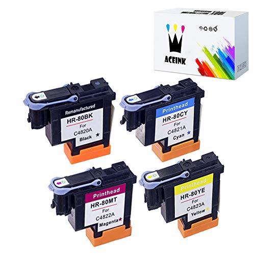 AceInk 4 Packs HP 80 Printhead with Latest Chips C4820A C4821A C4822A C4823A Compatible for HP DesignJet 1050c 1050c Plus 1055C 1055cm 1055cm Plus (1BK+1C+1M+1Y)