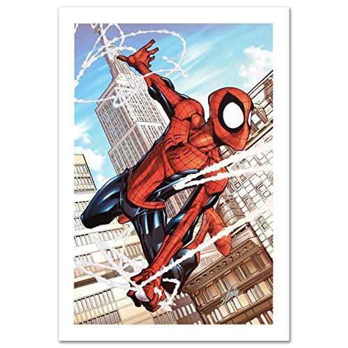 STAN LEE signed SPIDER-MAN Canvas Marvel ORIGINAL COMIC Artwork Scherberger COA