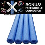 Oodles of Noodles Deluxe Famous Foam Pool Noodles -Made in USA Wholesale 4 Pack Blue