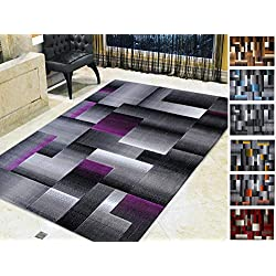 Handcraft Rugs Purple and Gray Abstract Geometric Modern Squares Pattern Area Rug 2 ft. by 3 ft.(Doormat)