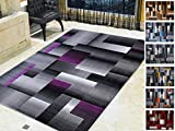 Handcraft Rugs Purple and Grey Abstract Geometric Modern Squares Pattern Area Rug 8 ft. by 10 ft.