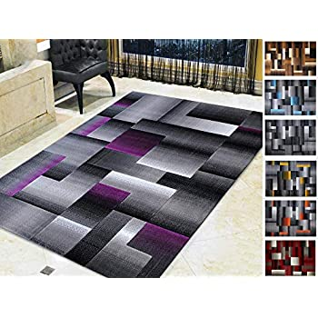 Amazon Com Handcraft Rugs Purple And Gray Abstract