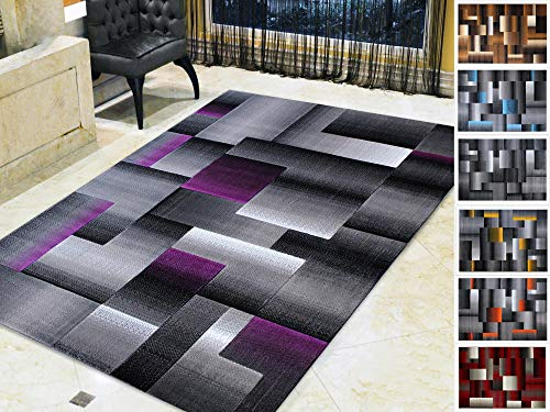 (Handcraft Rugs Purple and Grey Abstract Geometric Modern Squares Pattern Area Rug 8 ft. by 10 ft. )