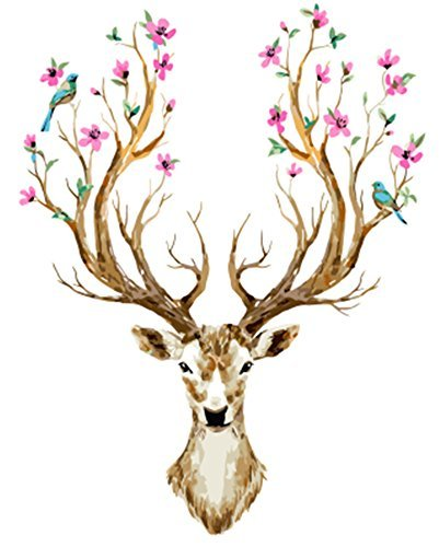 5D DIY Deer Head Full Square Drill Diamond Painting Kit Rhinestone Embroidery Cross Stitch Handicraft for Wall Decor 16x20 inches ()