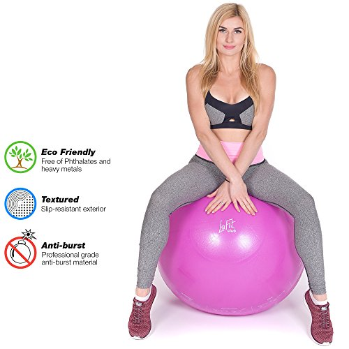 LAFIT CLUB 65 cm Pink Exercise Ball - Yoga Ball with Pump - Gym Ball for Yoga - Stability Swiss Sitting Fit Ball - Ball for Workout and Gym by LAFIT CLUB (Image #5)